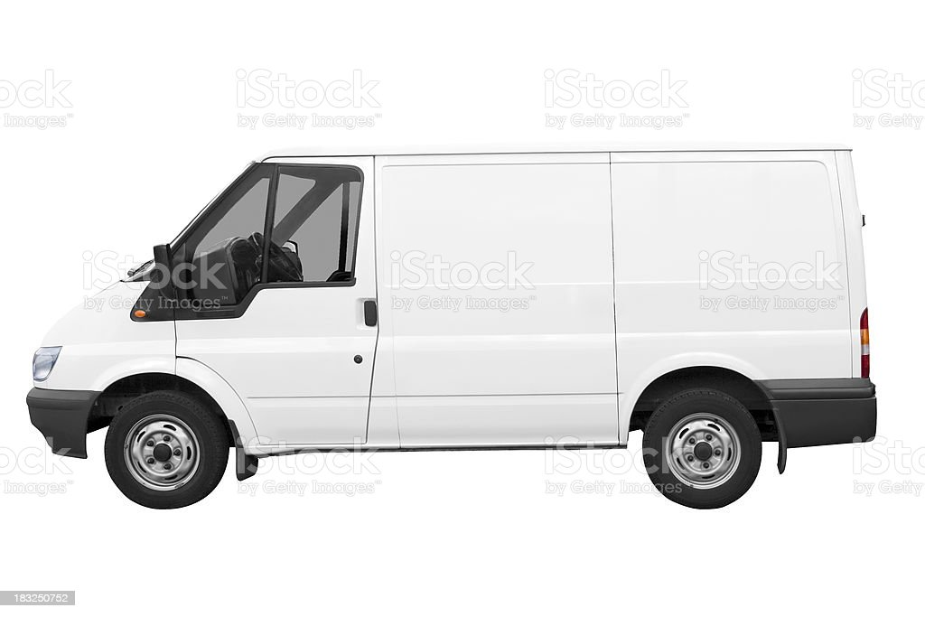 Side view of white van on white background with path royalty-free stock photo