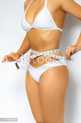 988581210 istock photo Side view of woman measuring waist with measure band. 1171696133