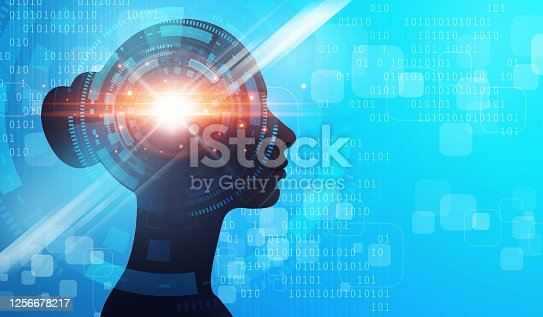 872670454 istock photo Side view of woman with abstract digital brain 1256678217