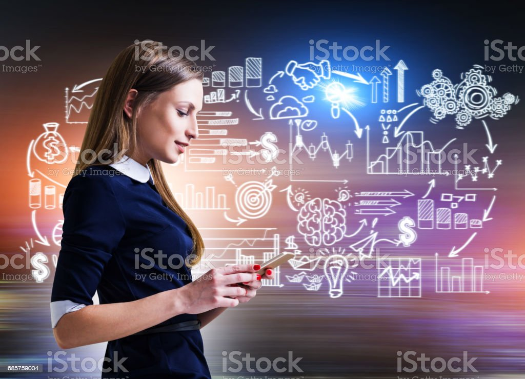 Side view of woman with phone and start up scheme royalty free stockfoto