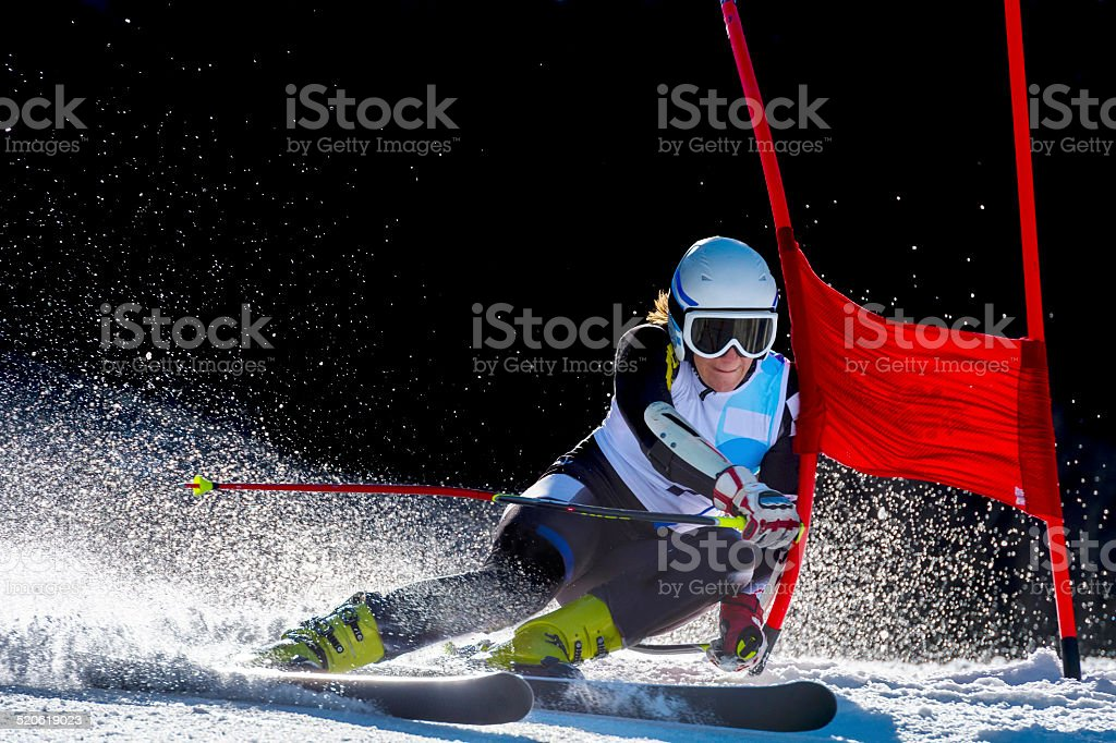 Side View of Young Woman at Giant Slalom Race stock photo