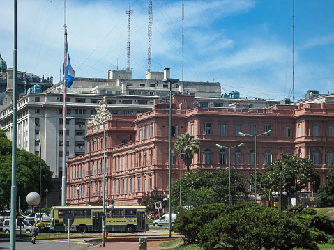 Side view on Casa Rosada in Buenos Aires, Argentina.