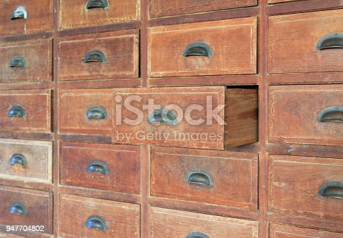 668340340istockphoto Side view Open old wooden drawer. 947704802