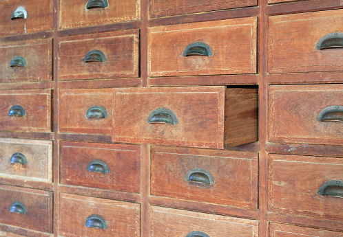 668340340 istock photo Side view Open old wooden drawer. 947704802