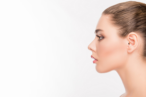 Side View Portrait Of Attractive Womans Face On White ...