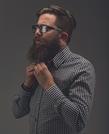 636829368 istock photo Side view portrait of thinking stylish young man which sets the 991924490