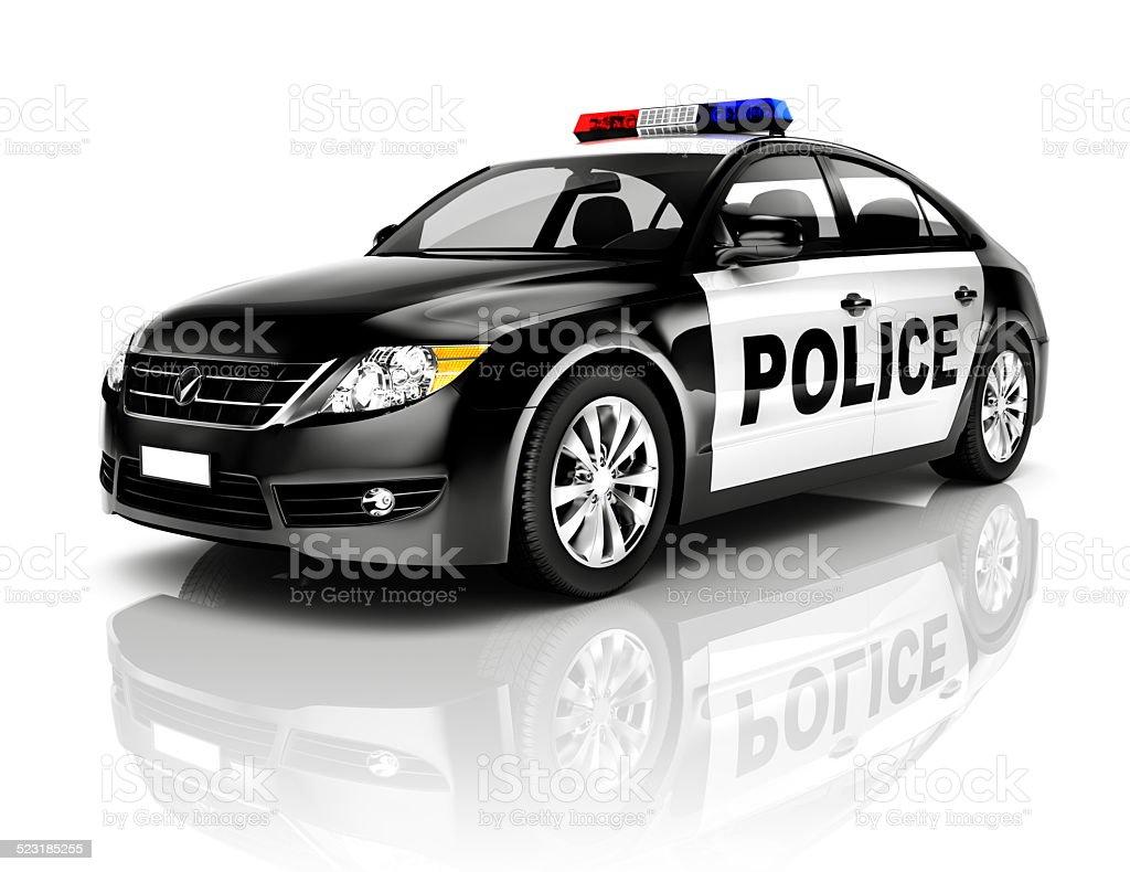 Side View Studio Shot Of Black Sedan Police Car stock photo