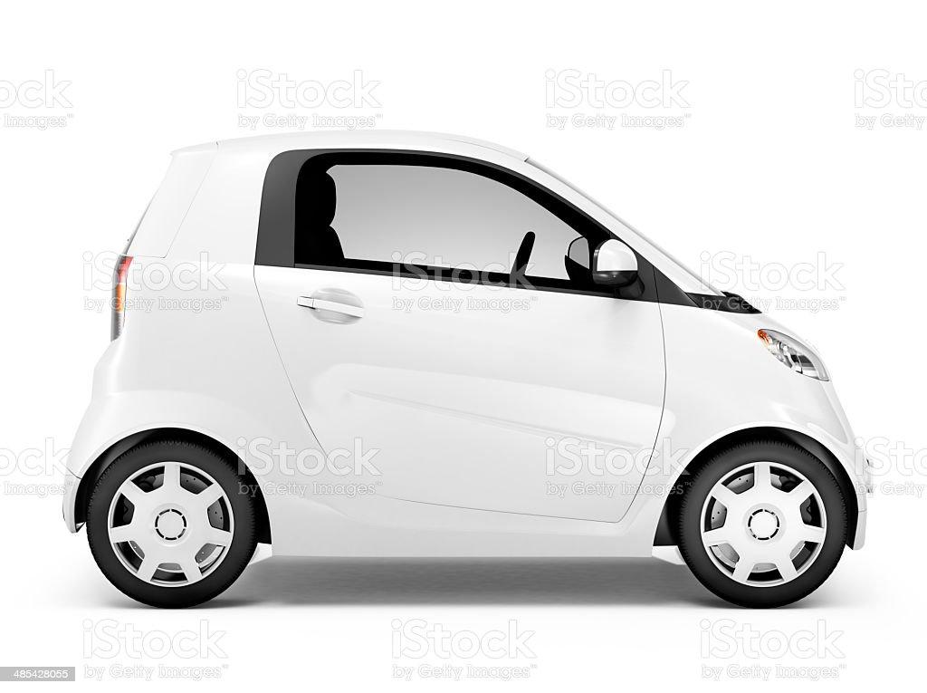 Side View Studio Shot Of White Mini Car stock photo