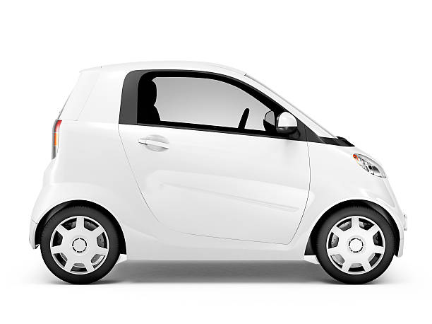 サイドの眺めをもつスタジオ撮影のホワイトのミニ自動車 ストックフォト