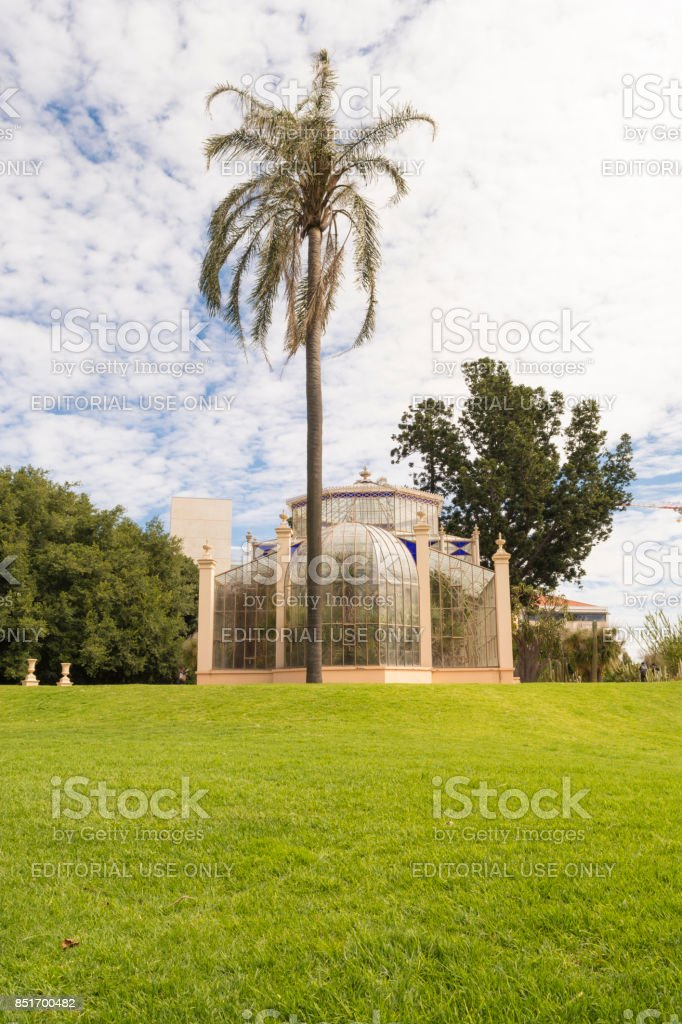 Side View, The Palm House, Adelaide Botanic Garden, South Australia stock photo