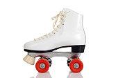 side view women white quad roller skate on white background