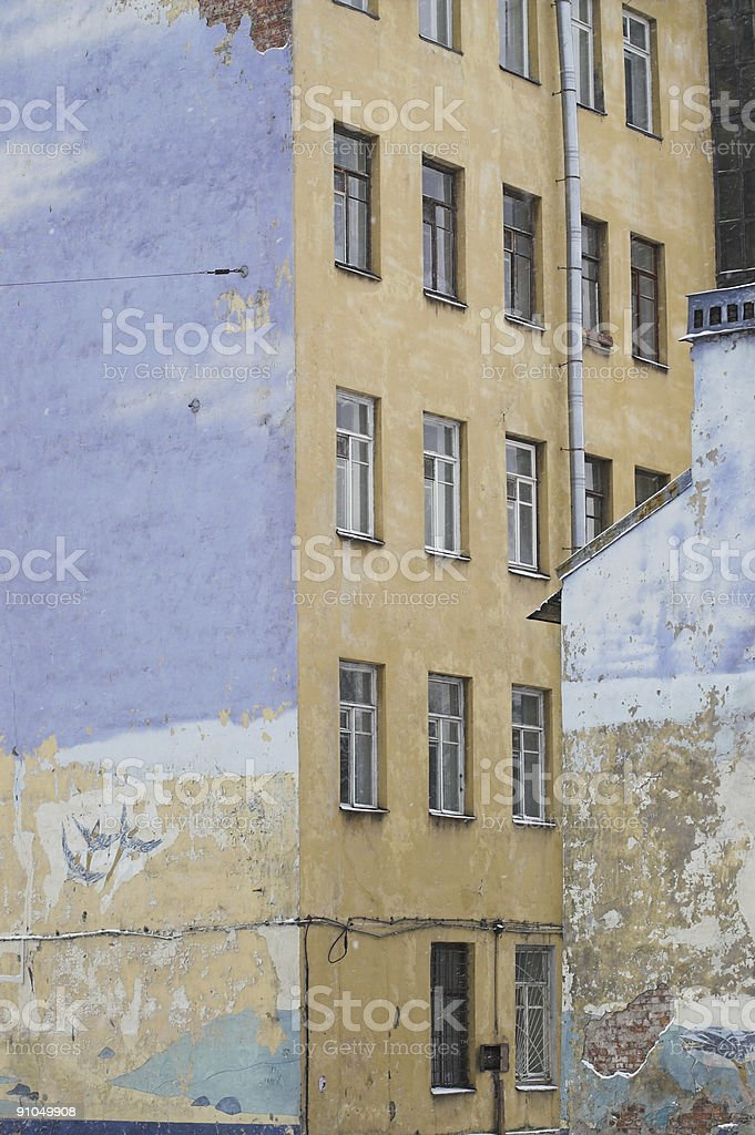 Side Walls of Old Buildings stock photo