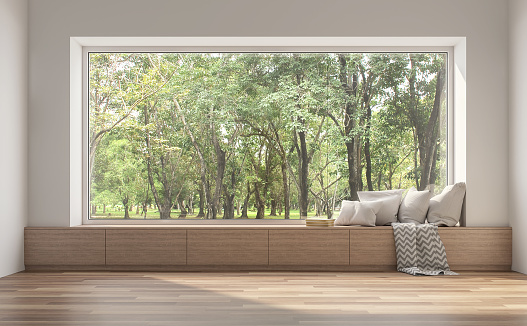 Side window seat with nature view 3d render.
