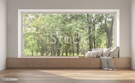 istock Side window seat with nature view 3d render. 1125258564