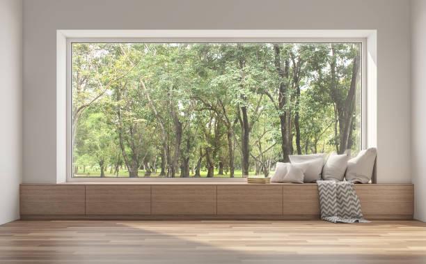 siedzenie przy oknie bocznym z widokiem natury 3d render. - okno zdjęcia i obrazy z banku zdjęć