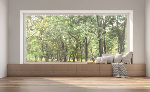 side window seat with nature view 3d render. - janela imagens e fotografias de stock