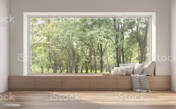 Photo of Side window seat with nature view 3d render.