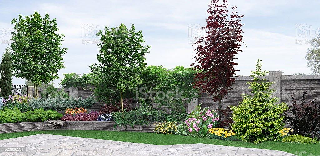 Seite hof Anpflanzung eines Gartens, 3d-Abbildung – Foto