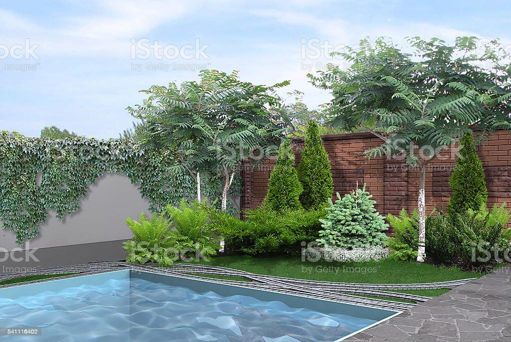 Lato giardino a bordo piscina rendering 3d fotografie for Rendering giardino