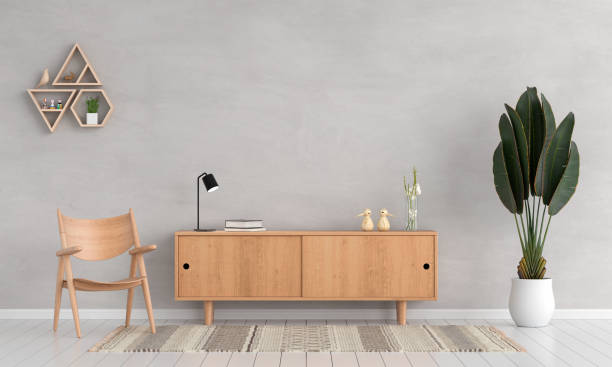 sideboard and chair in living room for mockup, 3d rendering - sideboard imagens e fotografias de stock