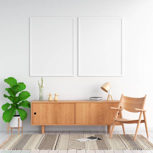 sideboard and two blank photo frame for mockup, 3d rendering - sideboard imagens e fotografias de stock