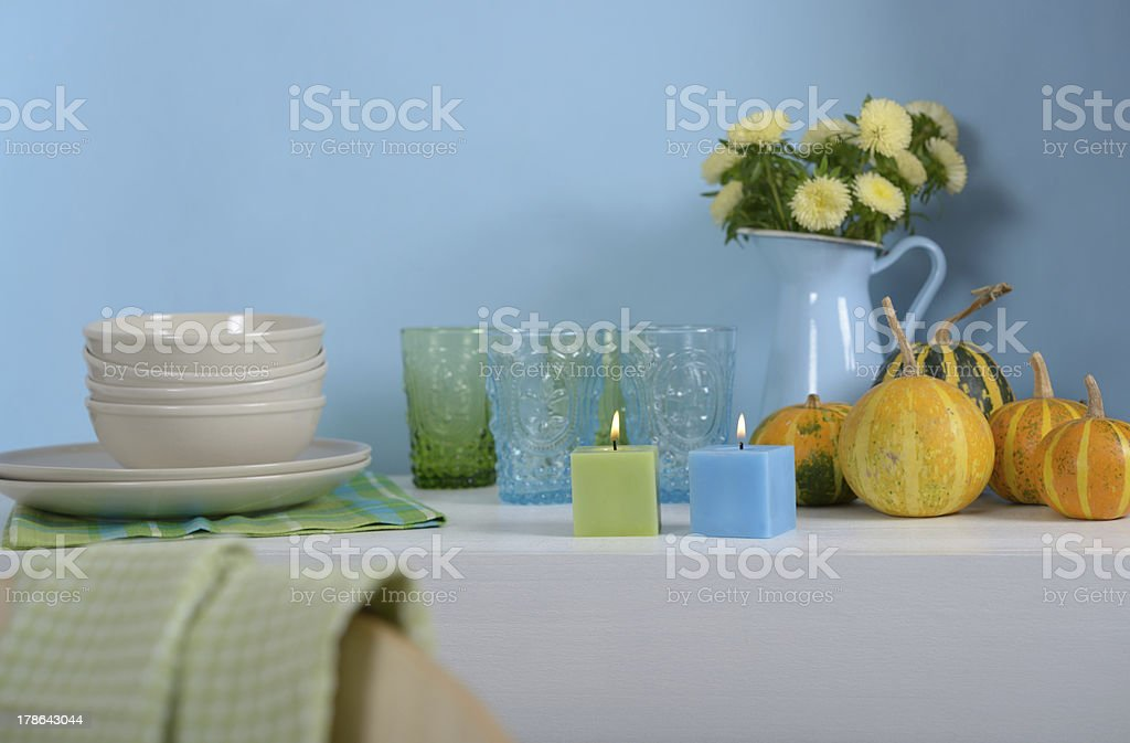 Sideboard with Thanksgiving decorations royalty-free stock photo