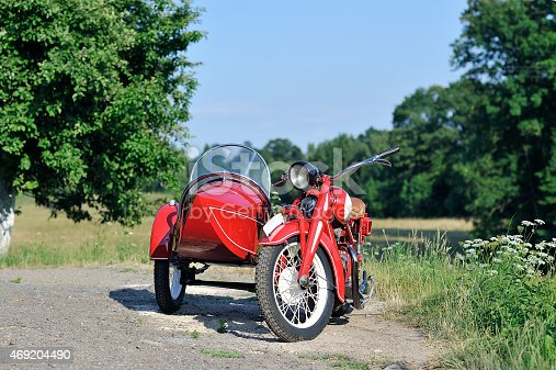 old red sidecar on the road