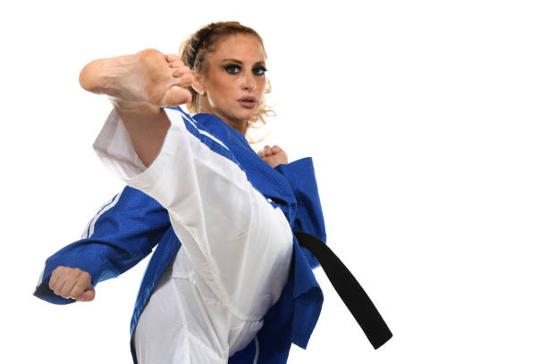 sidekick focus and confidence - martial arts gerville stock pictures, royalty-free photos & images