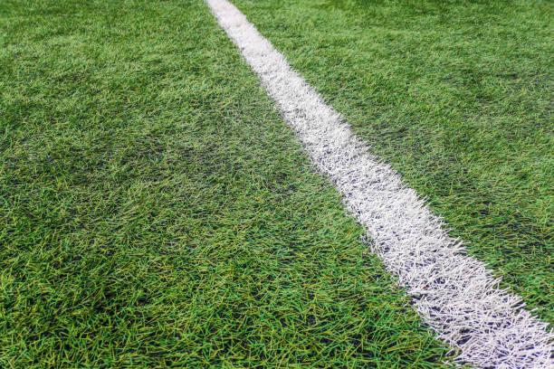Sideline football field, Sideline chalk mark artificial grass soccer field stock photo