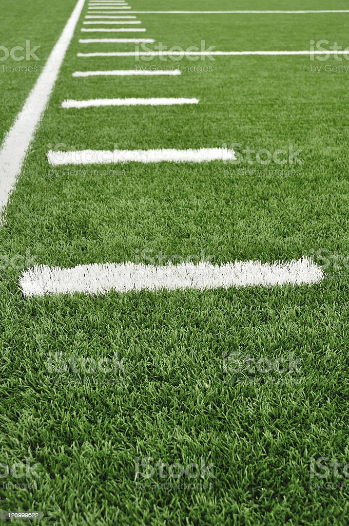 Sideline on American Football Field royalty-free stock photo