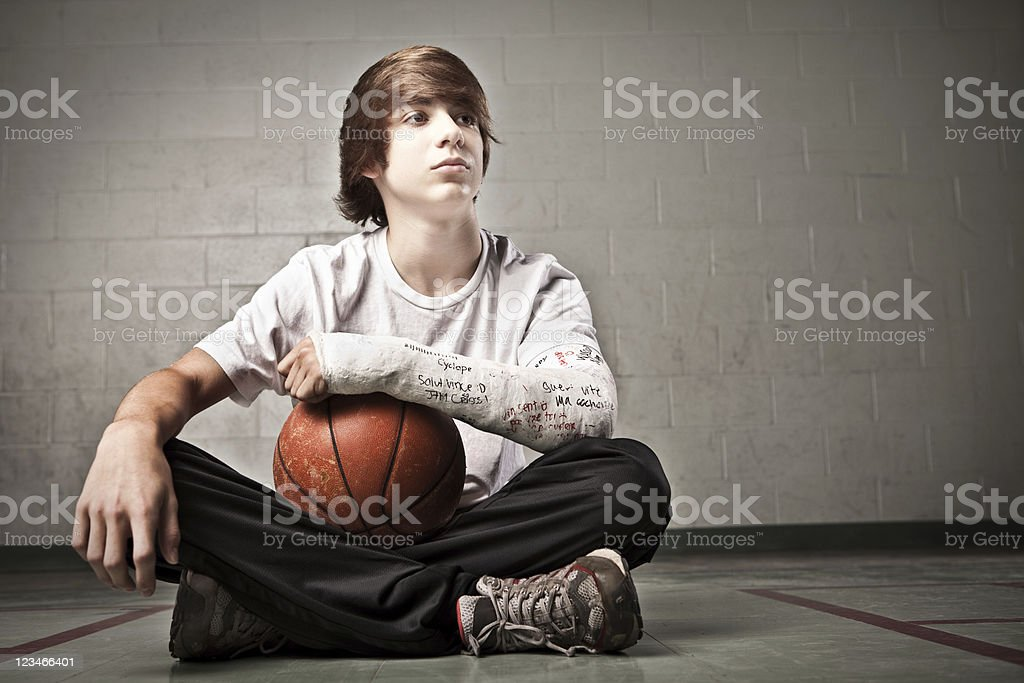 Sidelined with an injury stock photo
