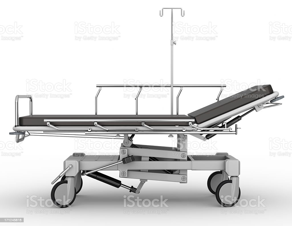 Side-profile view of stretcher parked on white background stock photo