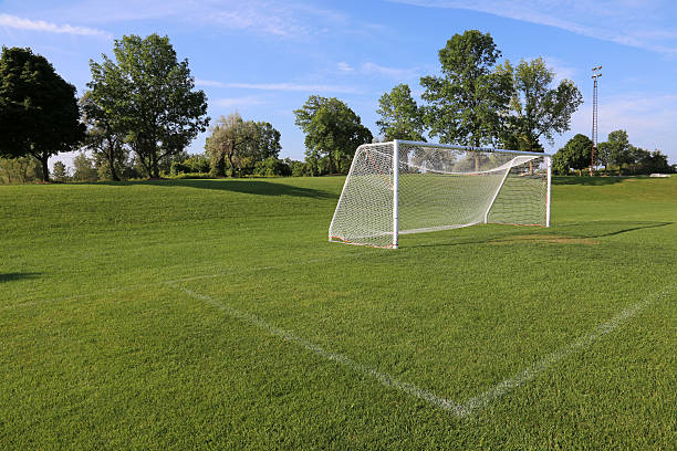 Side-View Football Pitch stock photo