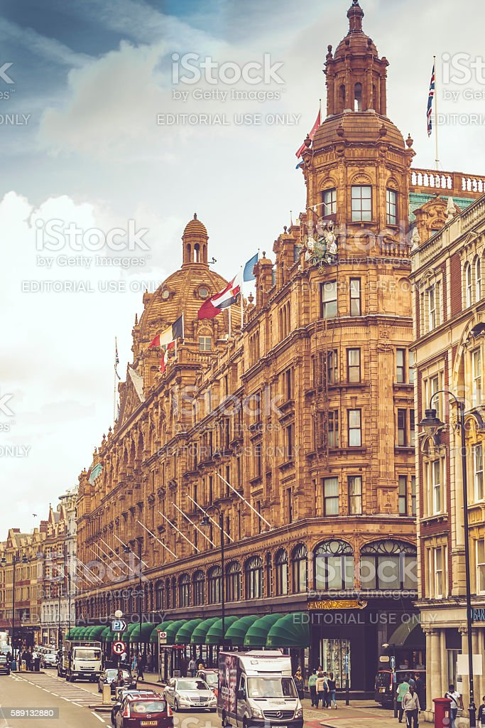 Sideview of Harrods stock photo