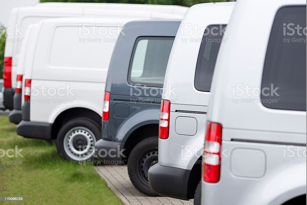 Sideview of New Vans in a row stock photo