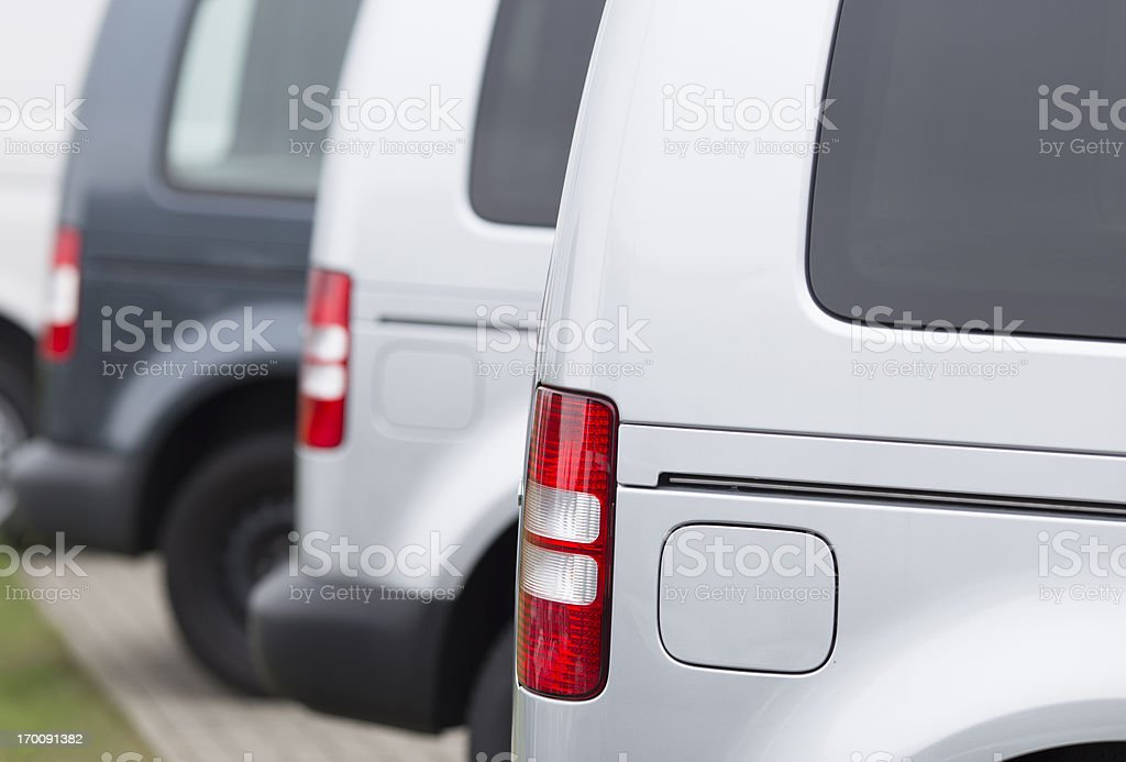 Sideview of new vans stock photo