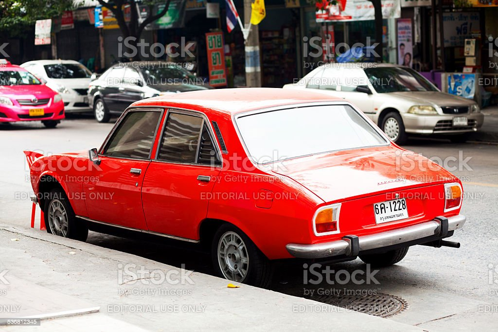 Sideview Of Red Old Peugeot 504 Stock Photo More Pictures Of 2015