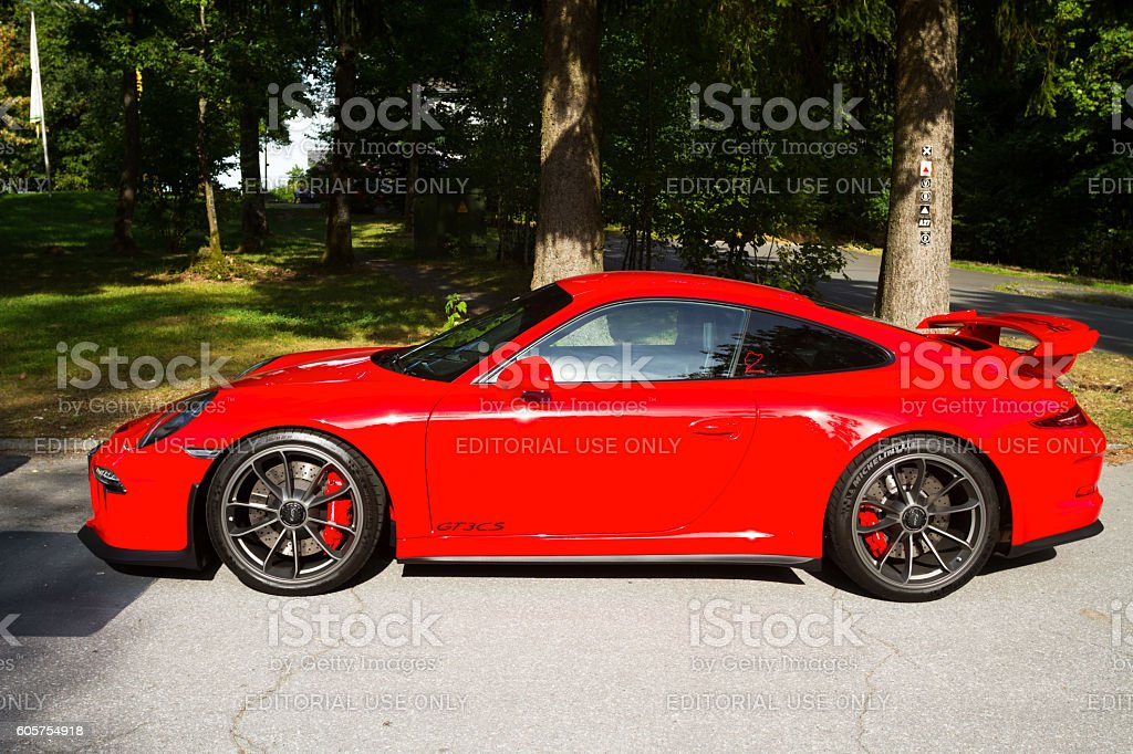 Sideview of red Porsche GT3 911 stock photo