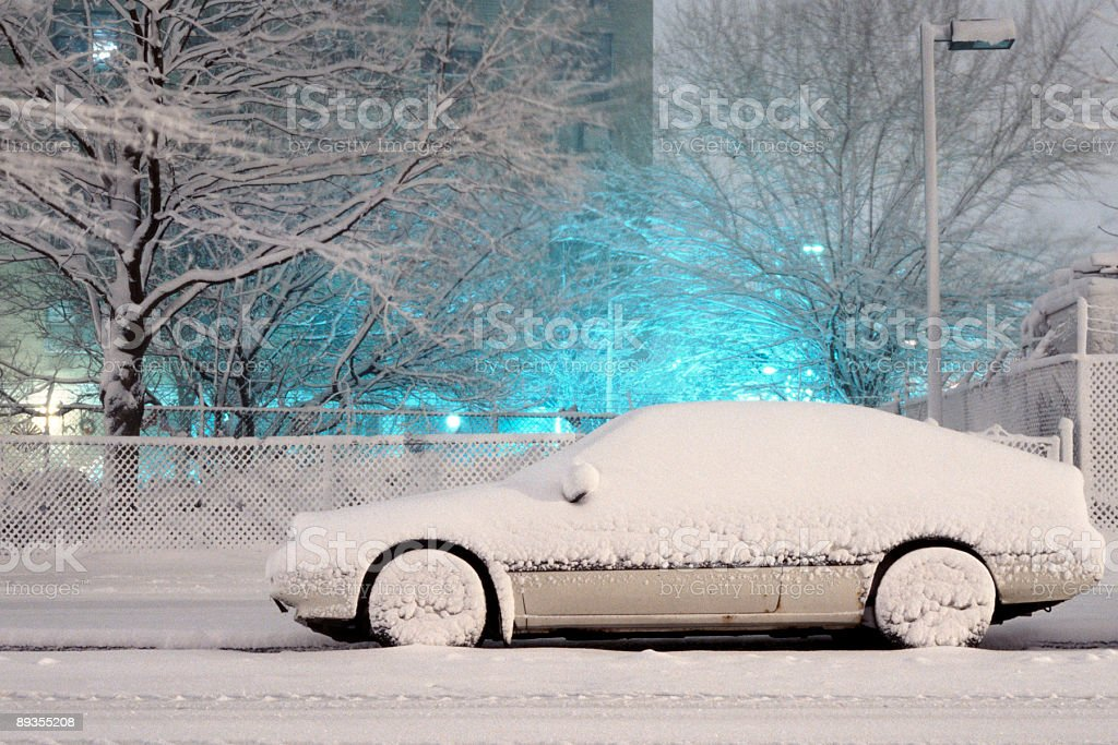 Side-View of Snow-Covered Car: NYC's Blizzard 2006 stock photo