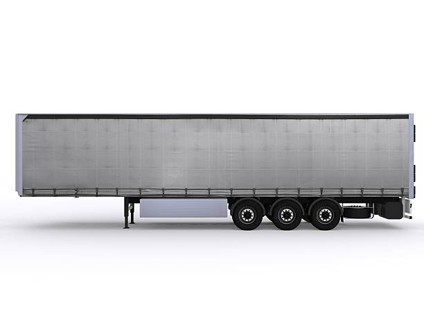 sideview red curtainside trailer stock photo