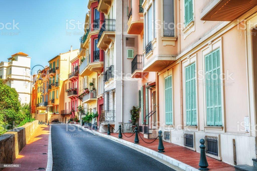 Sidewalk along apartments in Monaco stock photo