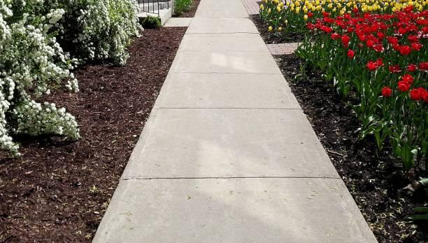 sidewalk and flowers - zona pedonale struttura creata dall'uomo foto e immagini stock