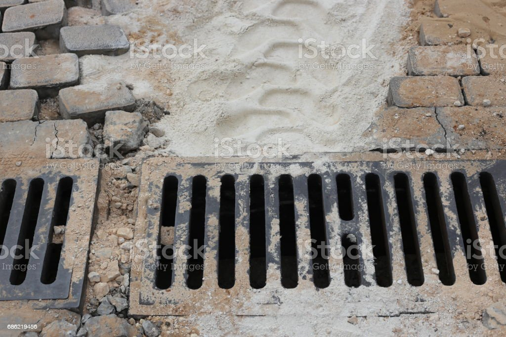 Sidewalk And Gutter Opening During Renovation. stock photo