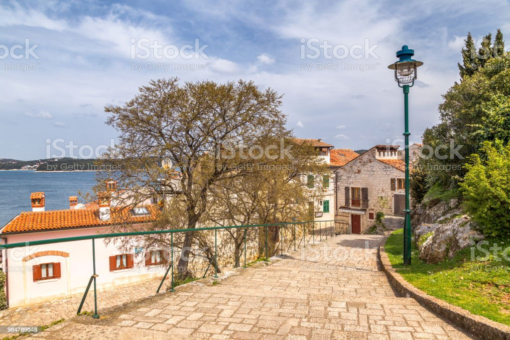 Sidewalk at Adriatic sea in Rovinj town, Croatia. royalty-free stock photo
