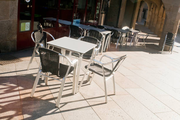 Sidewalk cafe in Ourense city, Galicia, Spain. stock photo