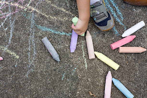 sidewalk chalk - chalk drawing stock photos and pictures