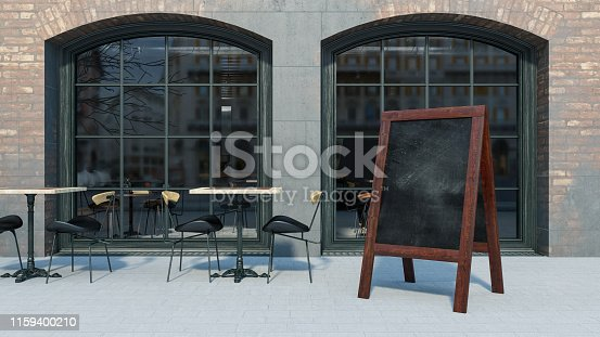 628470570 istock photo Sidewalk Chalkboard Street Cafe Sign 1159400210