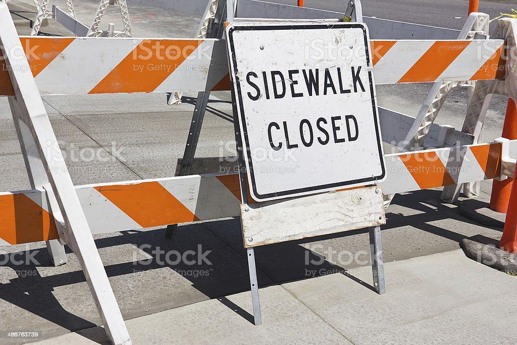 Sidewalk Close Sign stock photo