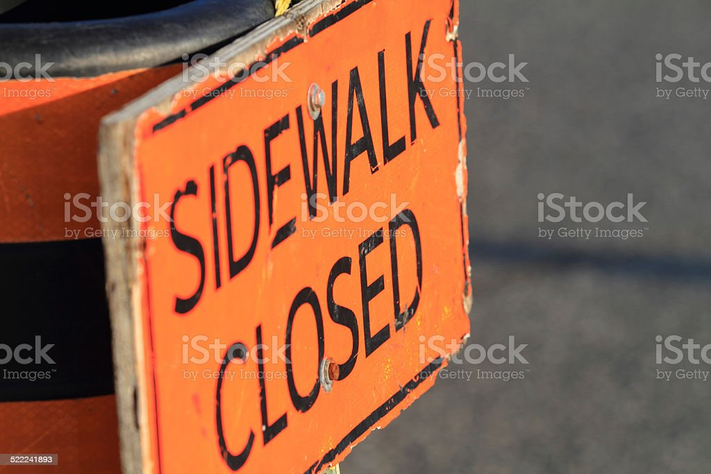 Sidewalk Close Sign stock photo
