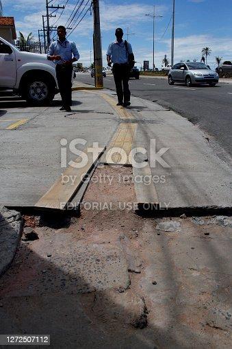 salvador, bahia / brazil - april 3, 2014: damaged walking area in the pituba neighborhood in the city of Salvador.